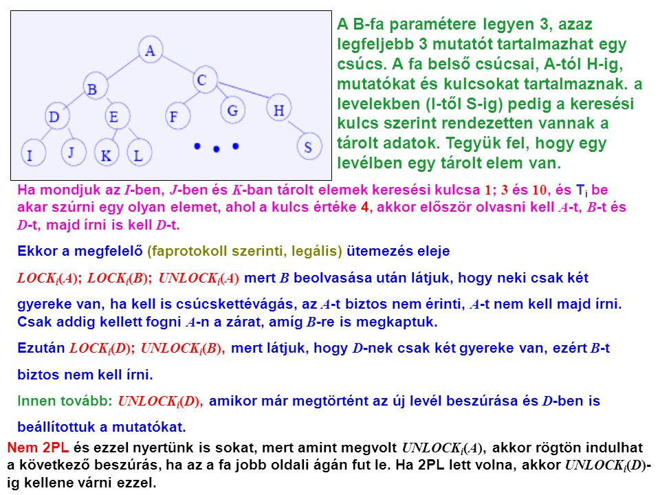 A B-fa paramétere legyen 3, azaz legfeljebb 3 mutatót tartalmazhat egy csúcs. A fa belső csúcsai, A-tól H-ig, mutatókat és kulcsokat tartalmaznak. a levelekben (I-től S-ig) pedig a keresési kulcs szerint rendezetten vannak a tárolt adatok. Tegyük fel, hogy egy levélben egy tárolt elem van.