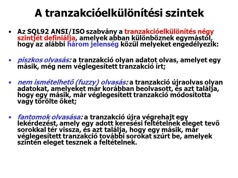 A tranzakcióelkülönítési szintek