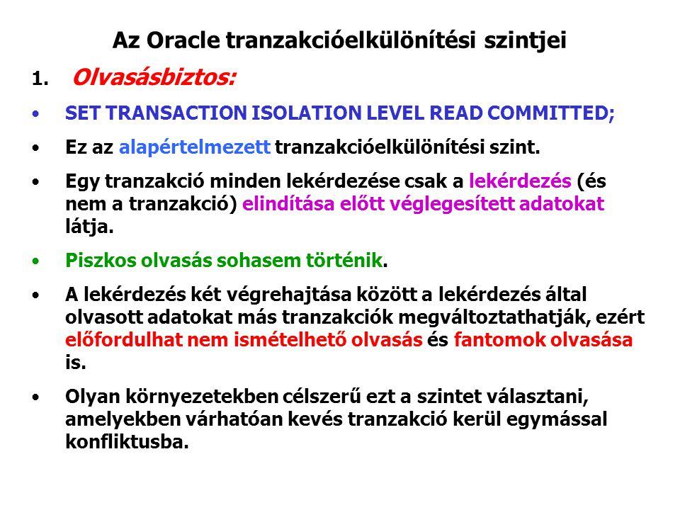 Az Oracle tranzakcióelkülönítési szintjei