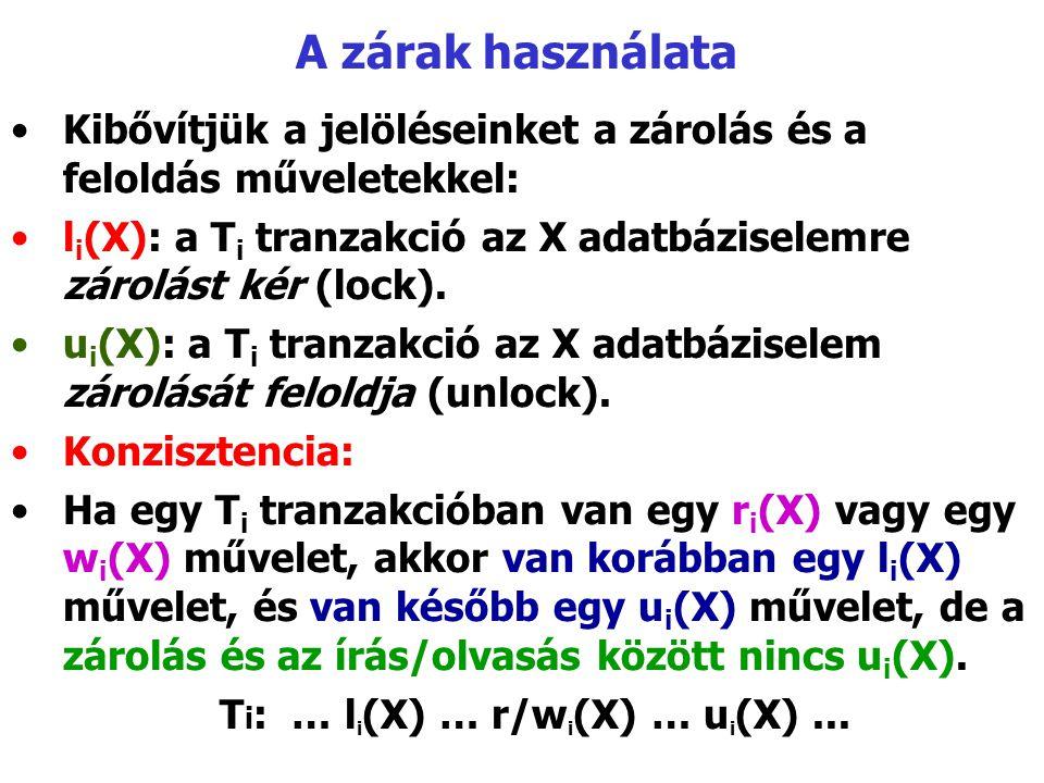 A zárak használata Kibővítjük a jelöléseinket a zárolás és a feloldás műveletekkel: li(X): a Ti tranzakció az X adatbáziselemre zárolást kér (lock).