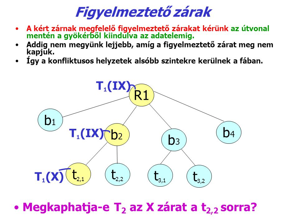 Figyelmeztető zárak R1 b1 b4 b2 b3 t2,1 t2,2 t3,1 t3,2 T1(IX) T1(IX)