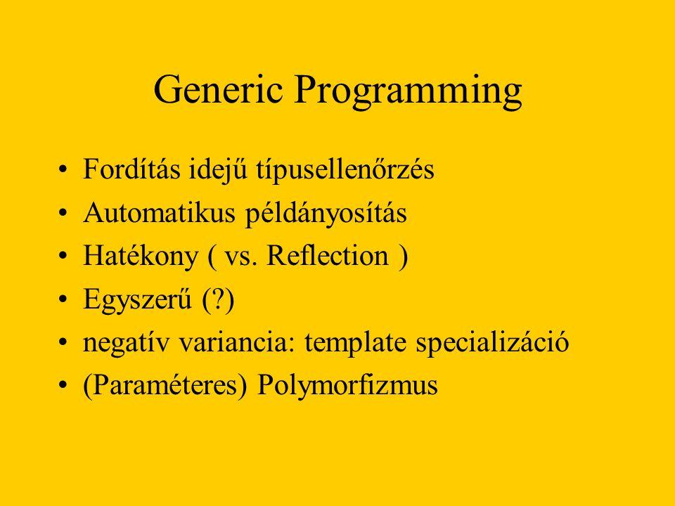 Generic Programming Fordítás idejű típusellenőrzés