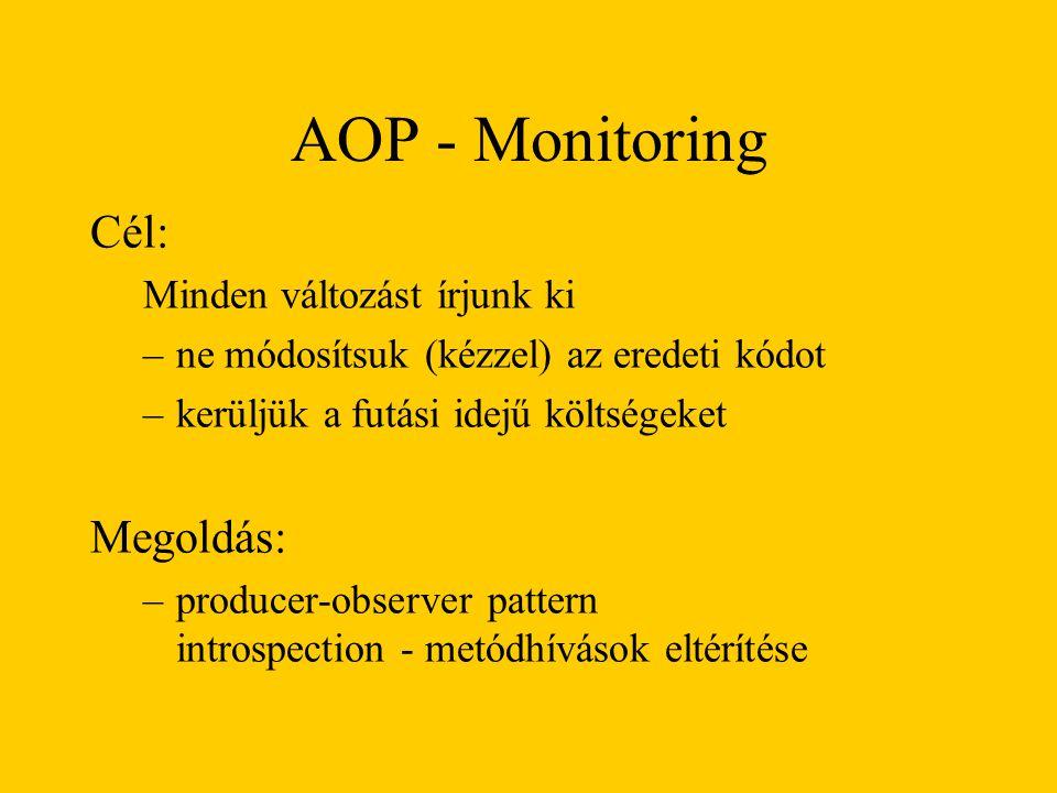 AOP - Monitoring Cél: Megoldás: Minden változást írjunk ki