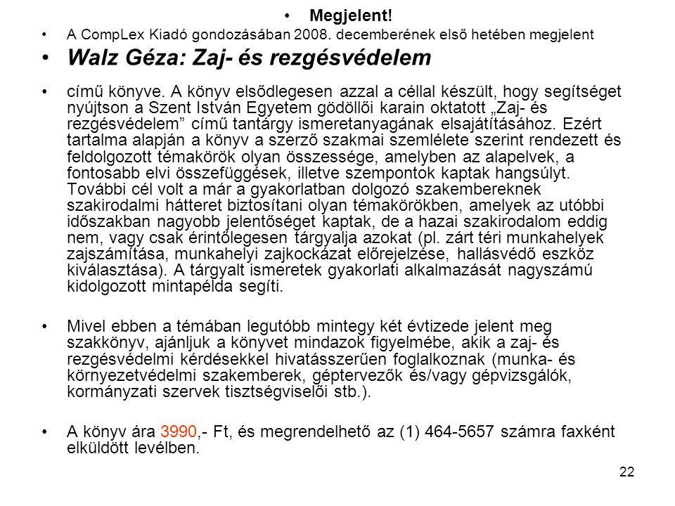 Walz Géza: Zaj- és rezgésvédelem