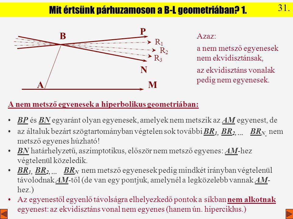 Mit értsünk párhuzamoson a B-L geometriában 1.