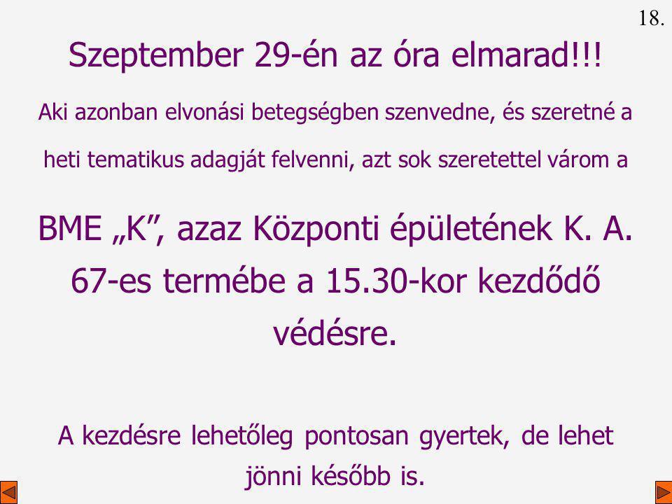 Szeptember 29-én az óra elmarad!!!