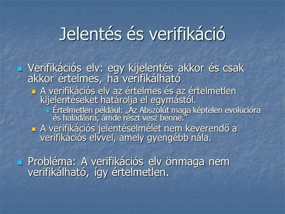 Jelentés és verifikáció