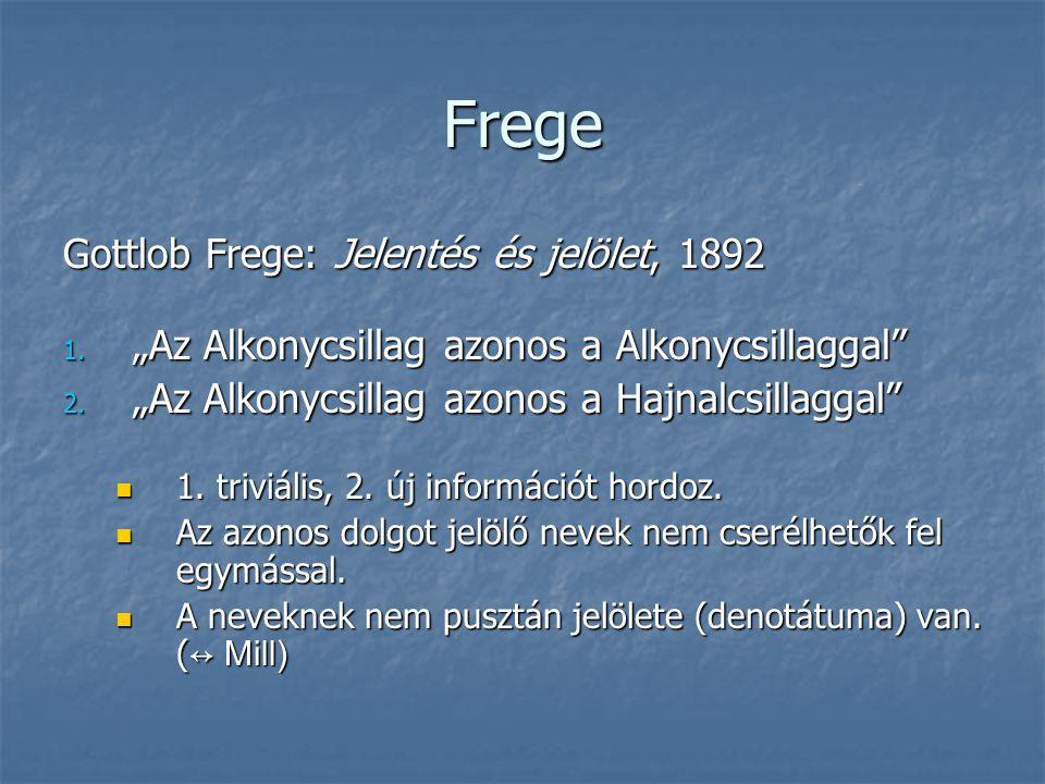 Frege Gottlob Frege: Jelentés és jelölet, 1892