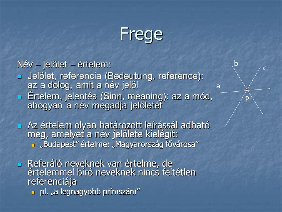Frege Név – jelölet – értelem: