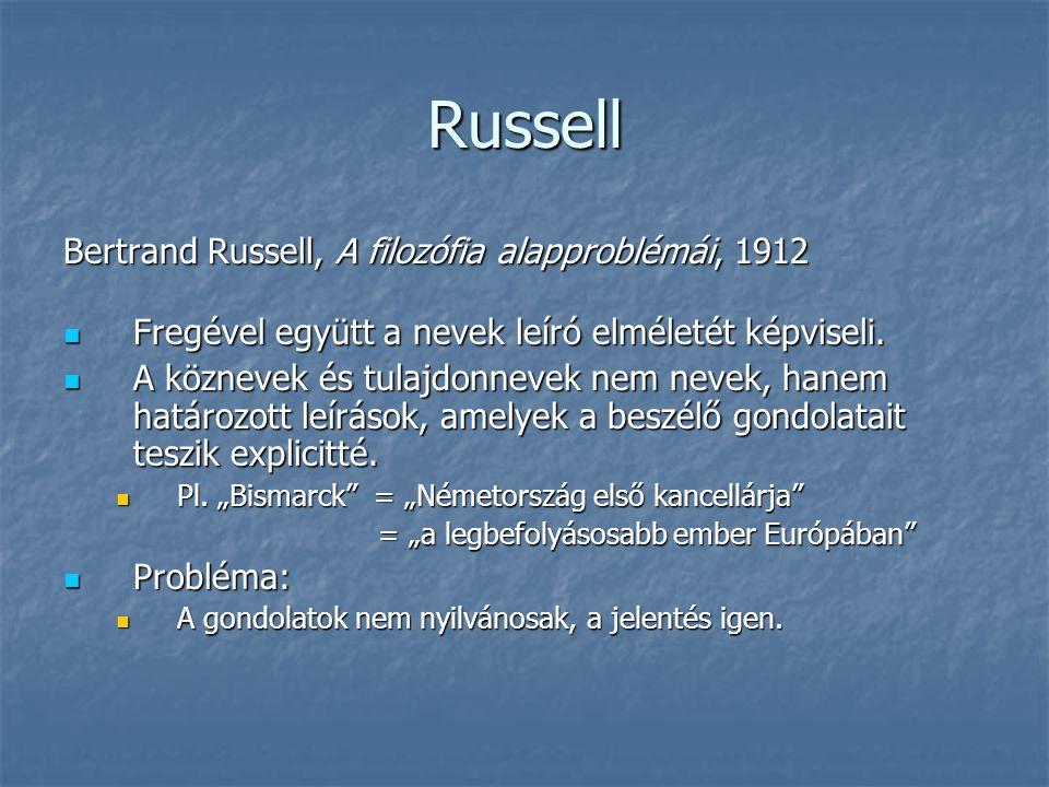Russell Bertrand Russell, A filozófia alapproblémái, 1912
