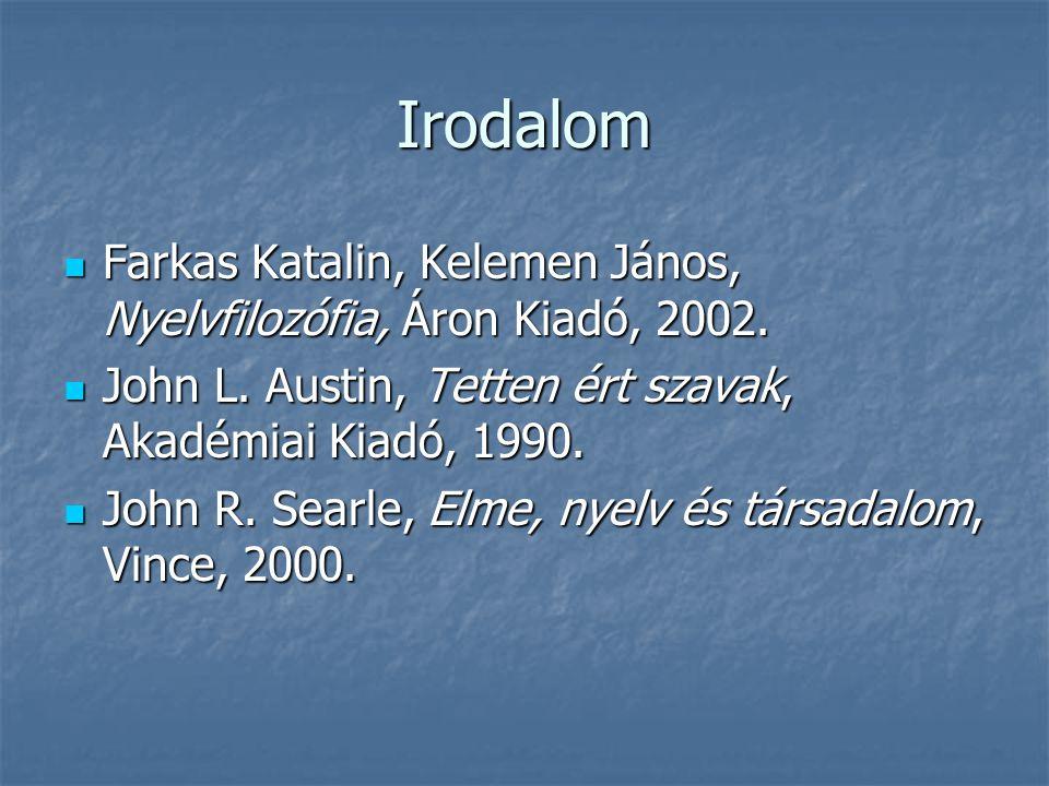 Irodalom Farkas Katalin, Kelemen János, Nyelvfilozófia, Áron Kiadó, 2002. John L. Austin, Tetten ért szavak, Akadémiai Kiadó, 1990.