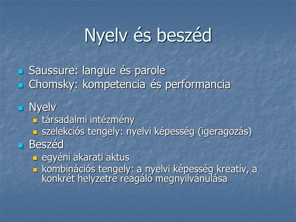 Nyelv és beszéd Saussure: langue és parole