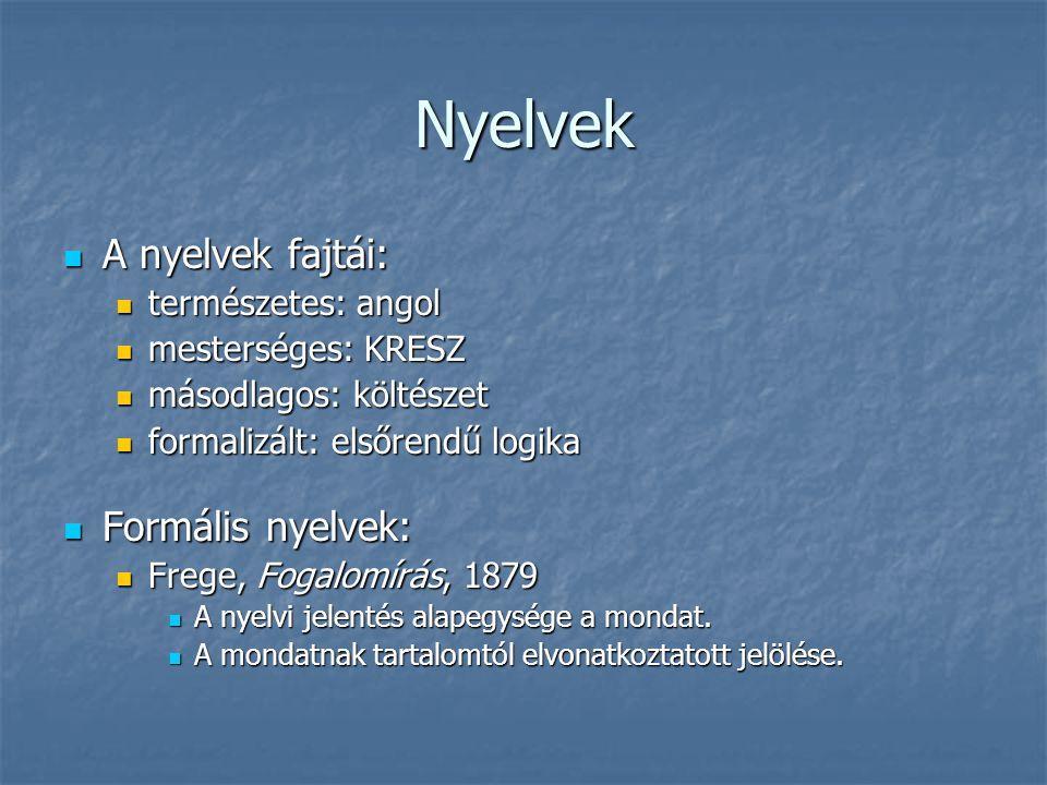 Nyelvek A nyelvek fajtái: Formális nyelvek: természetes: angol