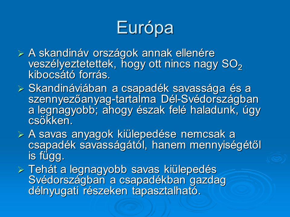 Európa A skandináv országok annak ellenére veszélyeztetettek, hogy ott nincs nagy SO2 kibocsátó forrás.