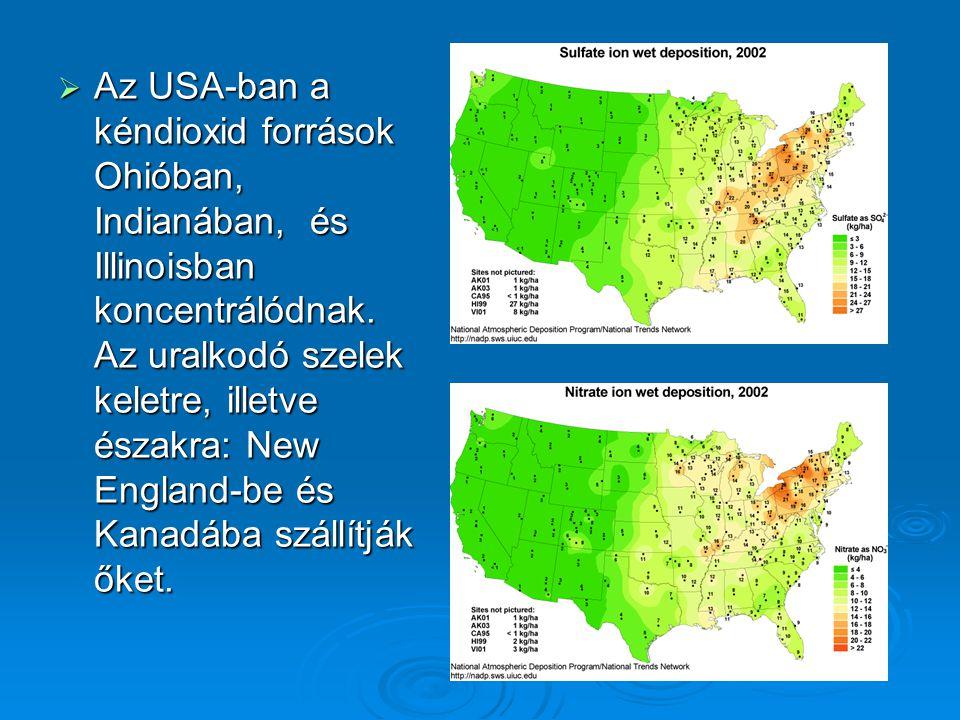 Az USA-ban a kéndioxid források Ohióban, Indianában, és Illinoisban koncentrálódnak.