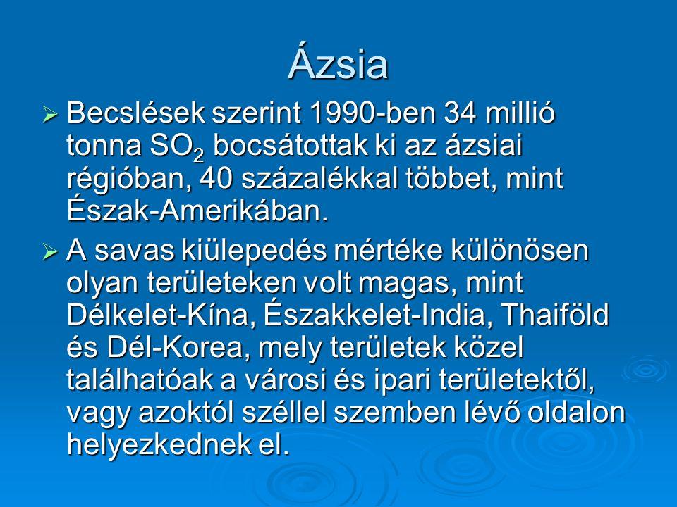 Ázsia Becslések szerint 1990-ben 34 millió tonna SO2 bocsátottak ki az ázsiai régióban, 40 százalékkal többet, mint Észak-Amerikában.