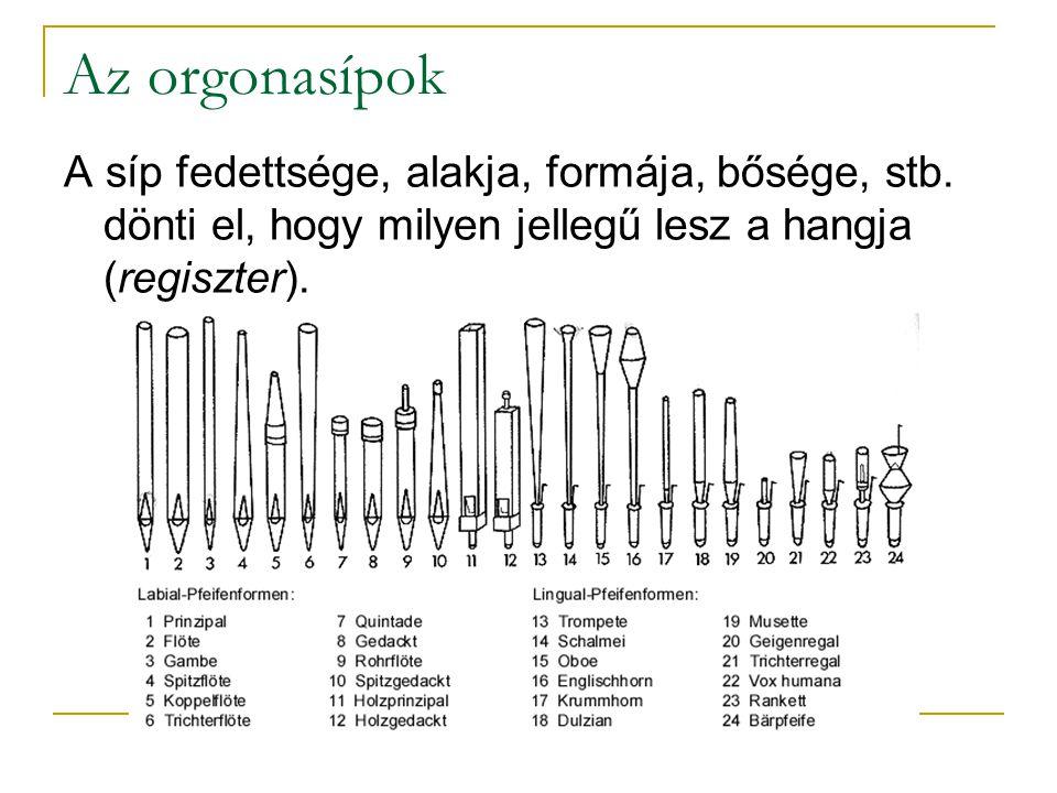Az orgonasípok A síp fedettsége, alakja, formája, bősége, stb.