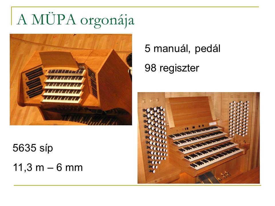 A MÜPA orgonája 5 manuál, pedál 98 regiszter 5635 síp 11,3 m – 6 mm