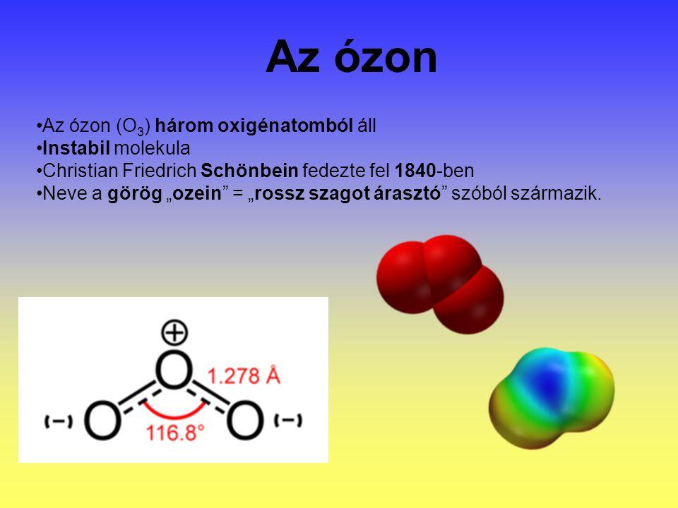 Az ózon Az ózon (O3) három oxigénatomból áll Instabil molekula