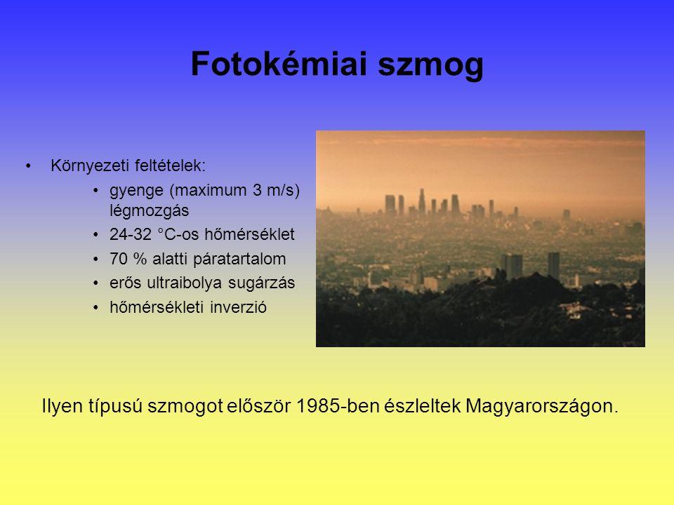 Fotokémiai szmog Környezeti feltételek: gyenge (maximum 3 m/s) légmozgás. 24-32 °C-os hőmérséklet.