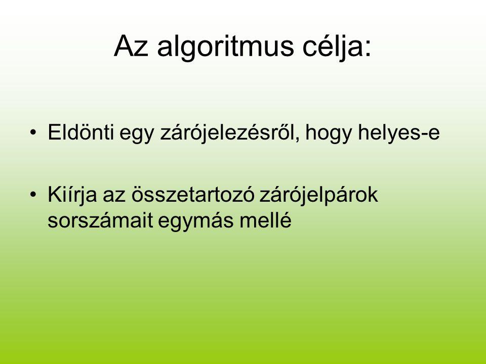 Az algoritmus célja: Eldönti egy zárójelezésről, hogy helyes-e