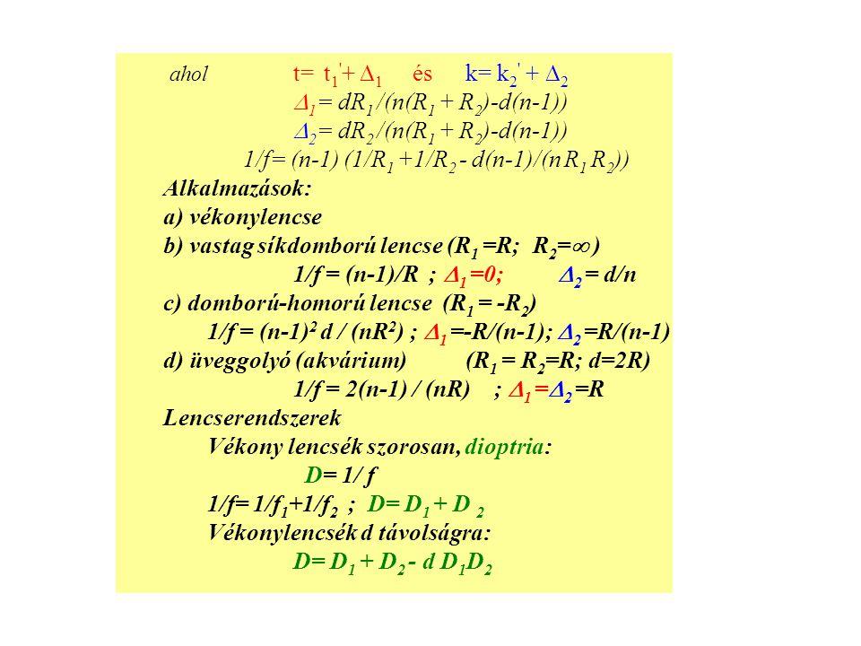 ahol t= t1 + 1 és k= k2 + 2 1= dR1 /(n(R1 + R2)-d(n-1)) 2= dR2 /(n(R1 + R2)-d(n-1)) 1/f= (n-1) (1/R1 +1/R2 - d(n-1)/(n R1 R2))