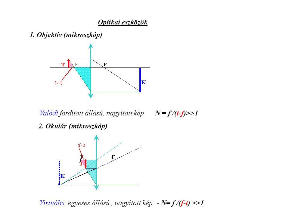 Optikai eszközök 1. Objektív (mikroszkóp) Valódi fordított állású, nagyított kép N = f /(t-f)>>1. 2. Okulár (mikroszkóp)