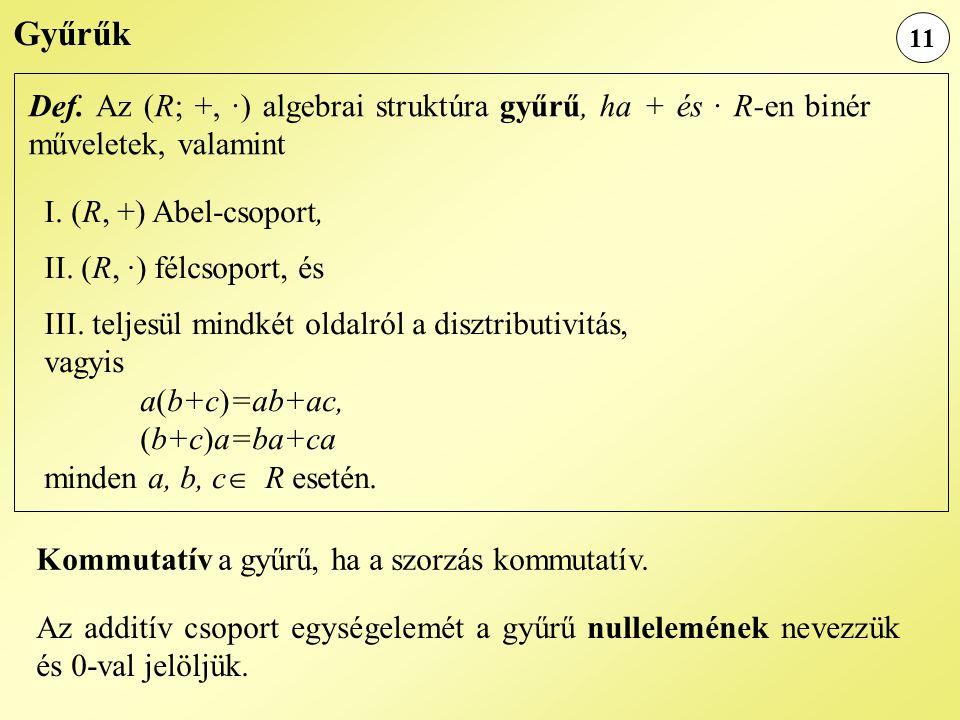 Gyűrűk 11. Def. Az (R; +, ·) algebrai struktúra gyűrű, ha + és · R-en binér műveletek, valamint. I. (R, +) Abel-csoport,