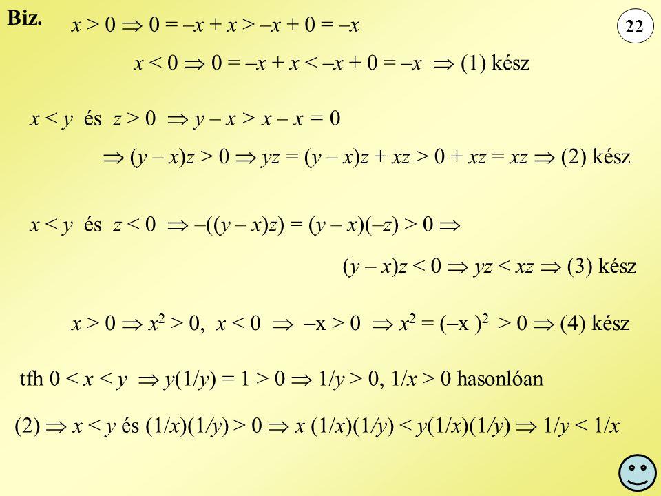 x > 0  0 = –x + x > –x + 0 = –x