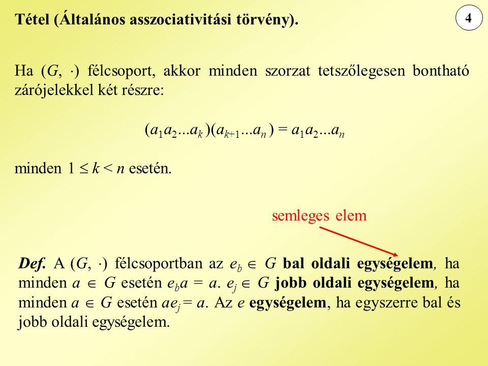 Tétel (Általános asszociativitási törvény).