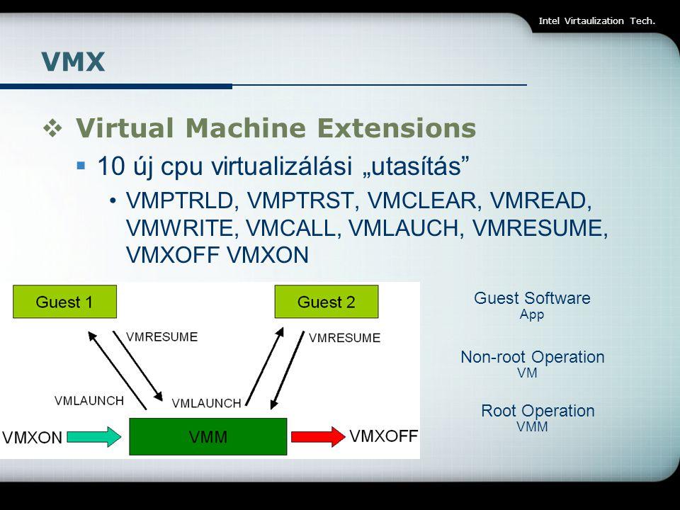 """Virtual Machine Extensions 10 új cpu virtualizálási """"utasítás"""