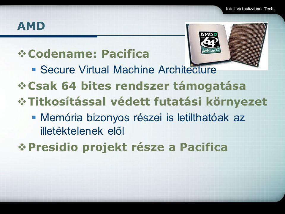 Secure Virtual Machine Architecture Csak 64 bites rendszer támogatása