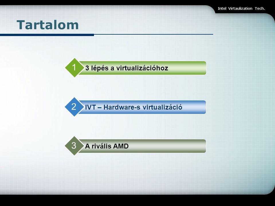 Tartalom 1 2 3 3 lépés a virtualizációhoz