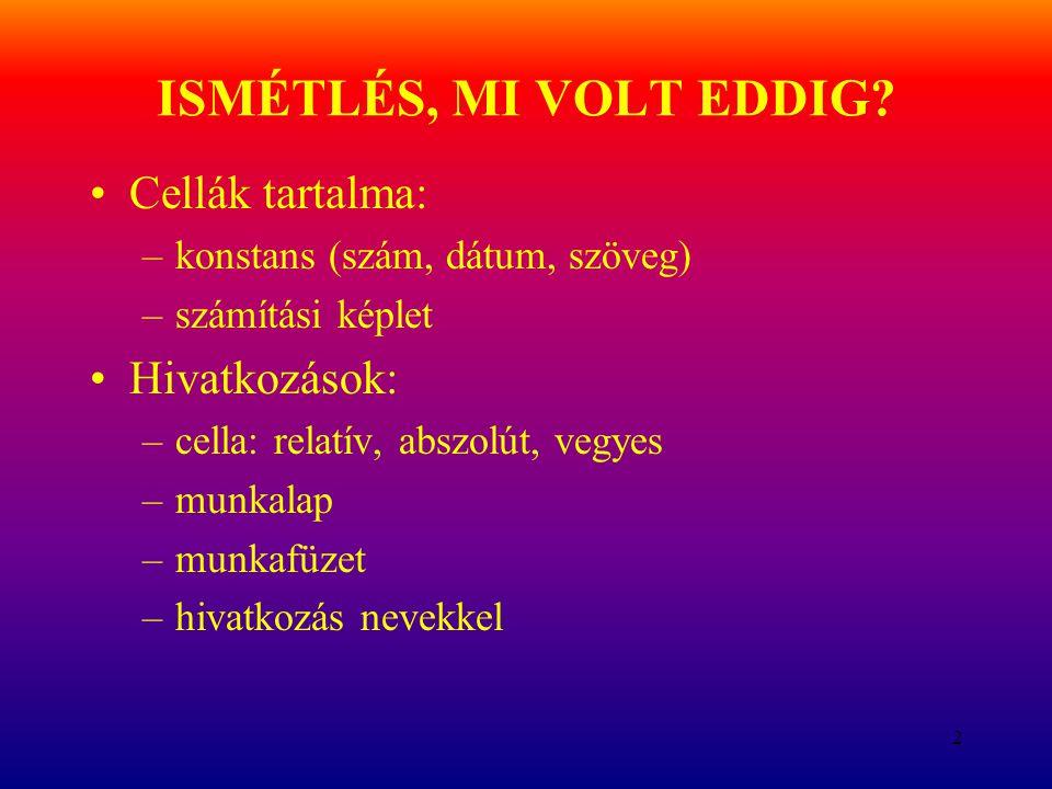 ISMÉTLÉS, MI VOLT EDDIG Cellák tartalma: Hivatkozások: