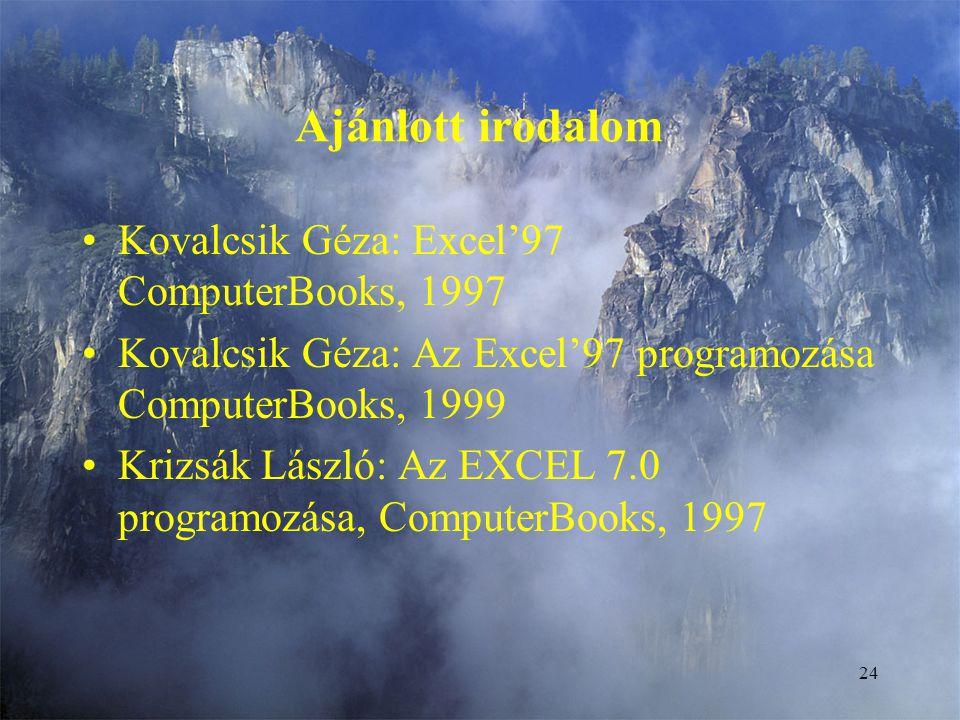 Ajánlott irodalom Kovalcsik Géza: Excel'97 ComputerBooks, 1997