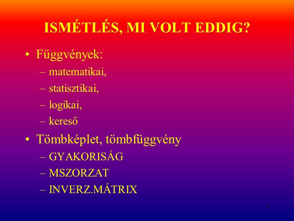 ISMÉTLÉS, MI VOLT EDDIG Függvények: Tömbképlet, tömbfüggvény