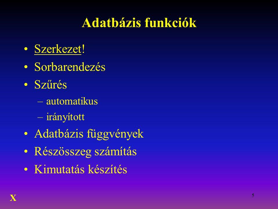Adatbázis funkciók Szerkezet! Sorbarendezés Szűrés