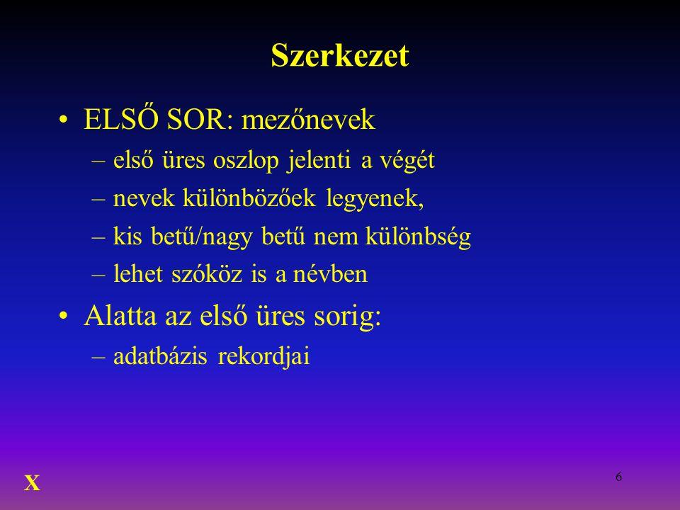 Szerkezet ELSŐ SOR: mezőnevek Alatta az első üres sorig:
