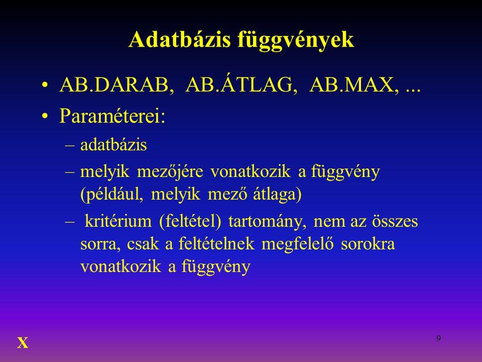 Adatbázis függvények AB.DARAB, AB.ÁTLAG, AB.MAX, ... Paraméterei: