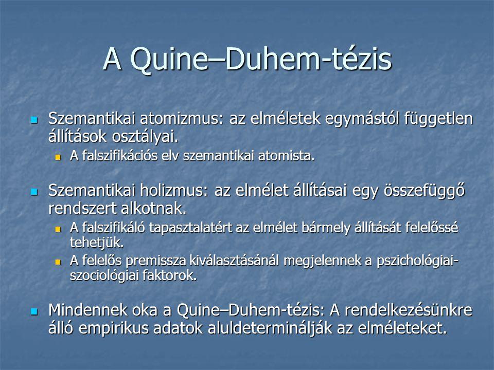 A Quine–Duhem-tézis Szemantikai atomizmus: az elméletek egymástól független állítások osztályai. A falszifikációs elv szemantikai atomista.
