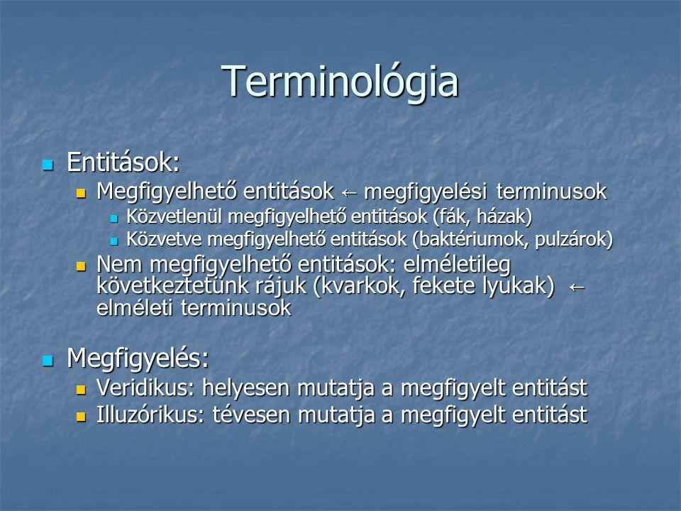 Terminológia Entitások: Megfigyelés: