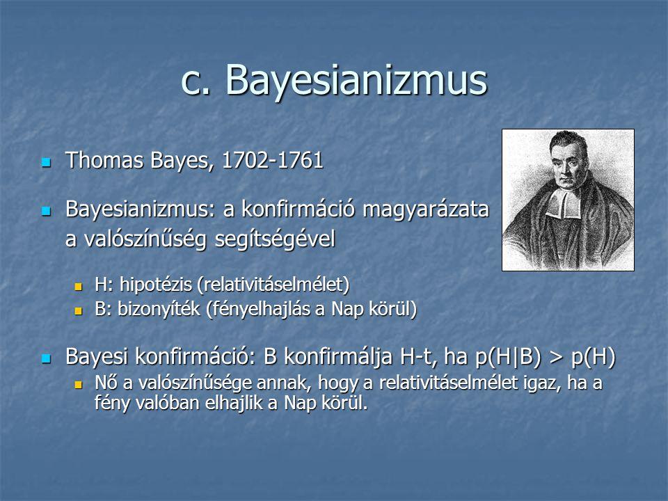 c. Bayesianizmus Thomas Bayes, 1702-1761