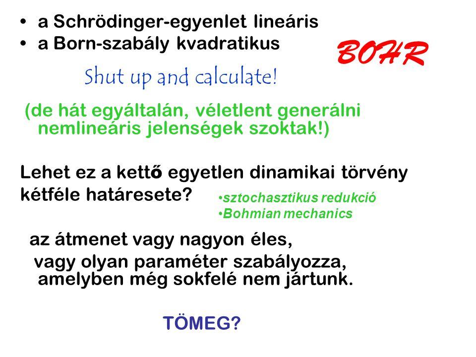 BOHR Shut up and calculate! a Schrödinger-egyenlet lineáris