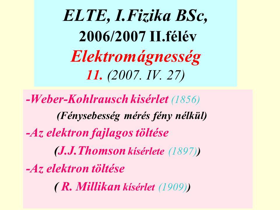 ELTE, I.Fizika BSc, 2006/2007 II.félév Elektromágnesség 11. (2007. IV. 27)