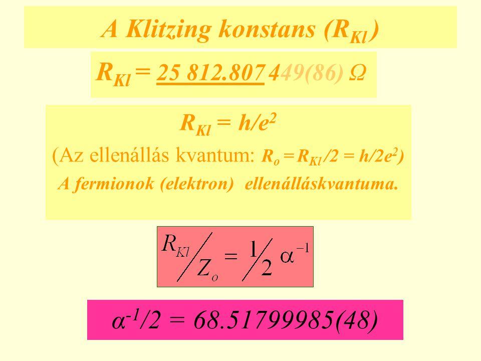 A Klitzing konstans (RKl )