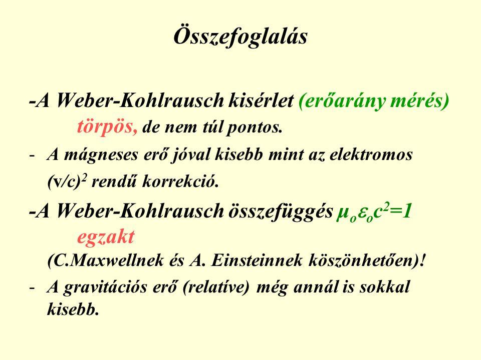 Összefoglalás -A Weber-Kohlrausch kisérlet (erőarány mérés) törpös, de nem túl pontos. A mágneses erő jóval kisebb mint az elektromos.