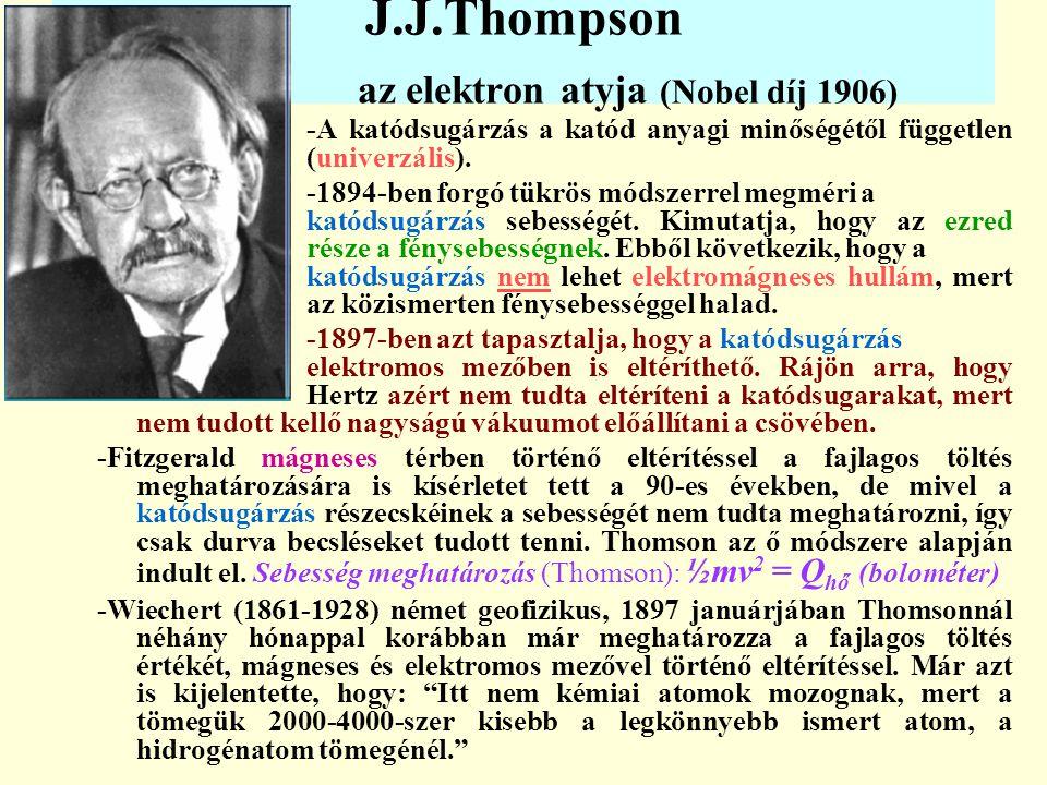 J.J.Thompson az elektron atyja (Nobel díj 1906)