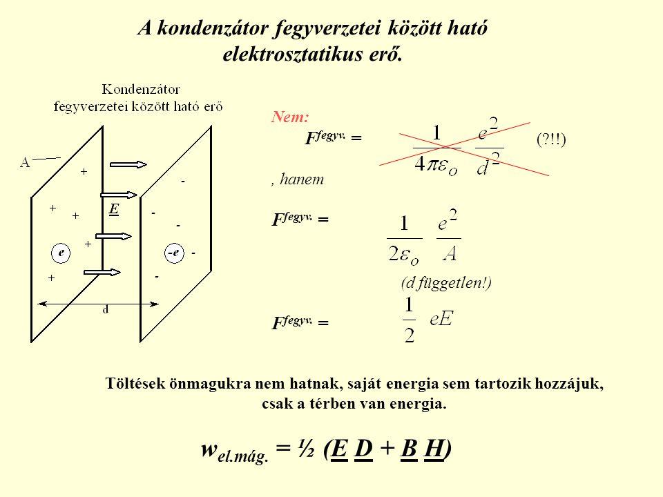 A kondenzátor fegyverzetei között ható elektrosztatikus erő.
