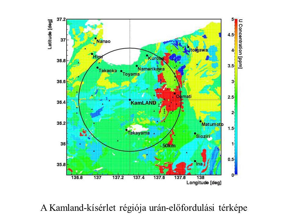 A Kamland-kísérlet régiója urán-előfordulási térképe