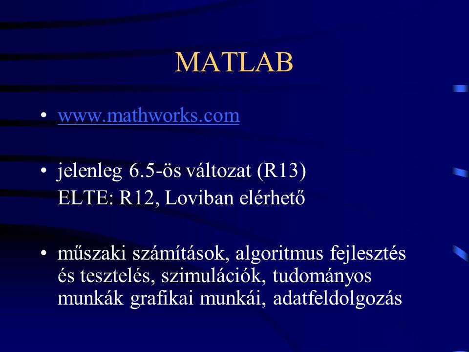 MATLAB www.mathworks.com jelenleg 6.5-ös változat (R13)